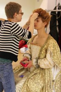 Wardrobe Manager Liv Robinson transforming Alex Mills